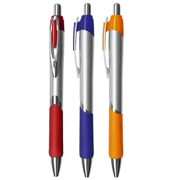CRC-927 銀管亮麗膠套中油筆 1
